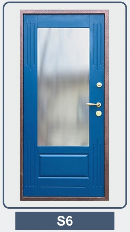 входная дверь со стеклом с зеркалом внутри