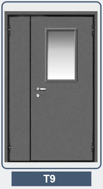 тамбурная дверь металлическая эконом со стеклом